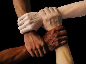 processi aziendali principio olistico: le mani che si stringono formando una catena